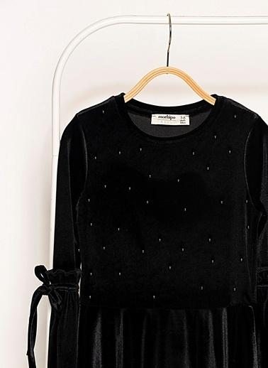 Morhipo Kids İnci Detaylı Kadife Elbise Siyah
